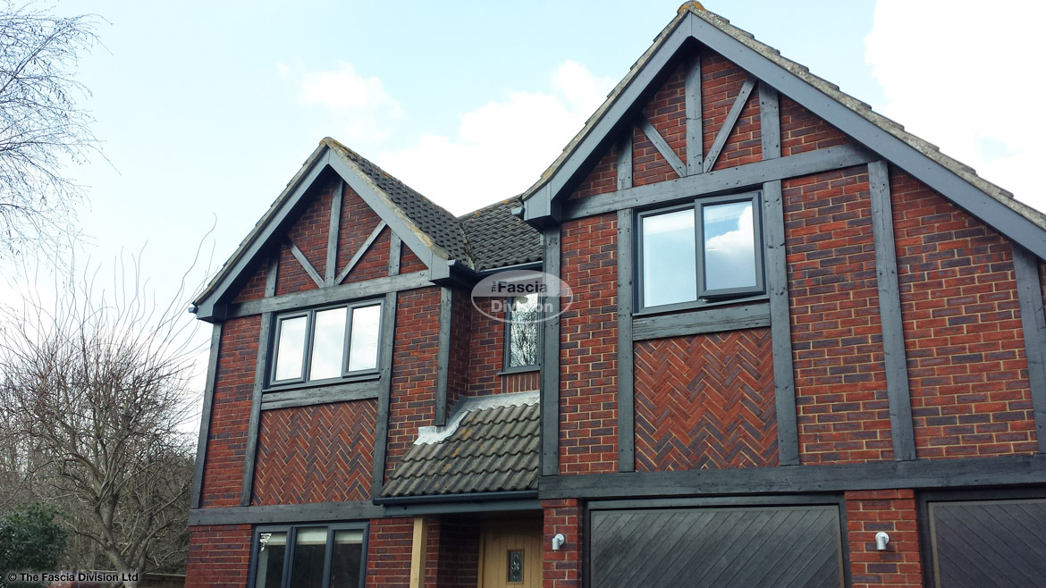 Anthracite grey fascias, soffits and guttering installation