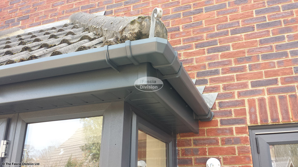 Anthracite grey fascias soffits and guttering for Grey upvc porch