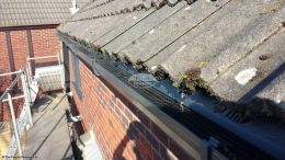 Gutter guards fitted to anthracite grey UPVC guttering