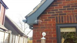 Box end detail in UPVC anthracite grey fascia