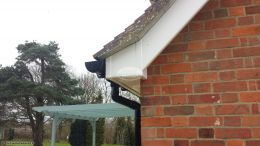 Detail of box end in white UPVC