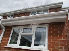 UPVC tongue and groove soffit, white square guttering