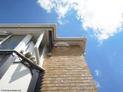 White soffit, white square guttering installation in Verwood