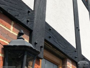 Polyurethane replica wood mock tudor in black